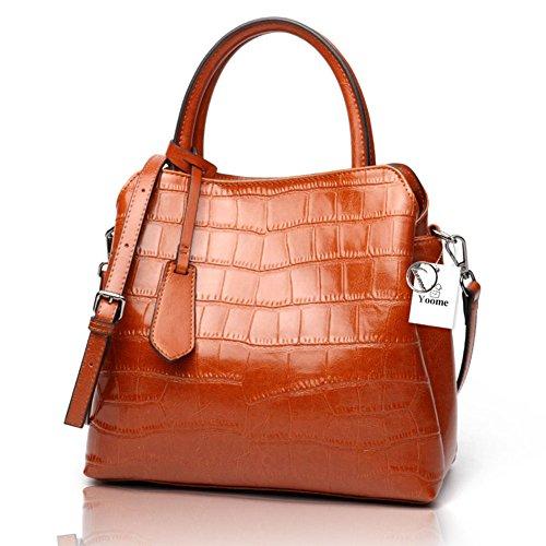 Yoome Classique Crocodile Mesdames Cuir gaufré Satchel Bag Sacs à main Top-poignée des femmes Real Leather Purse