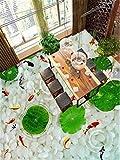 ZHOUJINGYI Bodenmalerei wasserdicht und verschleißfest Selbstklebende 3D dreidimensionale Kopfsteinpflaster Lotus Paste Bad Sanitär Bodenfliesen dekorative Aufkleber 2 * 2m Nähen