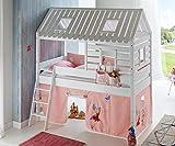 Hochbett Tom´s Hütte 2 Kinderbett Spielbett Bett Weiß Stoffset Prinzessin