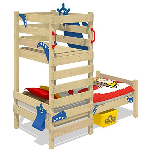 WICKEY Play bed CrAzY Octopus Children`s bed Wooden single bed with play platforme for boys and girls and slatted bed base, red