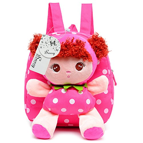 Swesy niño de los cabritos de los bebés de juguete de felpa Mochila Mochila Escolar Kindergarden bolsa de viaje bolsa de 1-3 años Rose Red