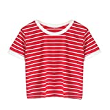 TUDUZ Damen Gestreift Crop Top Kurzarm Streifen Shirt Oberteile (Rot, L)