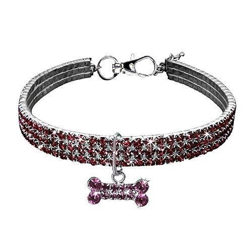 CAOQAO Benutzerdefinierte Niedlich Rundhalsausschnitt Bling Strass Halsketten Fancy Knochenförmige Halskette für Welpen Kleine Hunde Und Katzen - Rosa/L