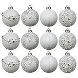 Set Weihnachtskugeln 12 Stück Ø8cm 4 Sorten mit Perlen Glas Weiß/Silber Christbaumschmuck Baumschmuck Christbaumkugeln Weihnachtsbaumkugeln