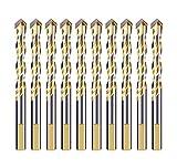 Meccion Bohrer-Set, Hartmetall-Spitze, Doppellöt, für Fliesen, Beton, Ziegel, Glas, Kunststoff, Holz, Metall, silber