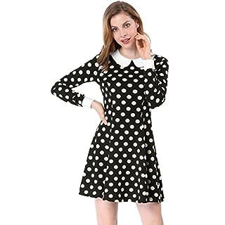 Allegra K Damen A Linie Bubikragen Polka Dot Minikleid Kleid, XL (EU 48)/Schwarz