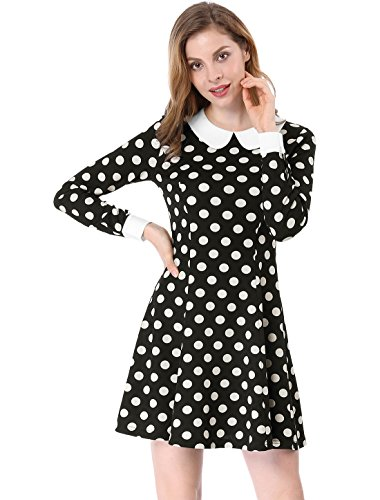 Dot Kostüm Tanz Polka - Allegra K Damen A Linie Bubikragen Polka Dot Minikleid Kleid, XL (EU 48)/Schwarz