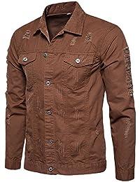 90f974f140c4a Veste en Jean Déchirée Homme Vintage,Overdose Automne Hiver Manteau Skinny  Slim Denim Jacket Jeans