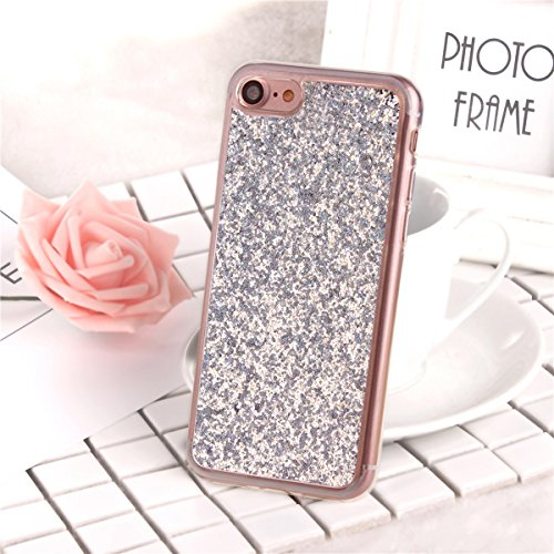 iPhone 7 Coque,iPhone 7 Housse en Silicone,JAWSEU Placage Luxe Fashion Brillante Mirior Tpu Case Cover,iPhone 7 Cristal Clair Ultra Mince Flex Soft Gel Bumper housse Etui de Protection,Bling Sparkle M sliver#