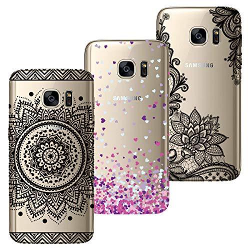 HopMore 3X Compatibile con Cover Samsung Galaxy S7 Edge Silicone Morbide Trasparente con Disegni Panda Gatto Fiore Belle Custodia Trasparenti Antiurto Morbido Case Slim Caso Protettiva - Design 1