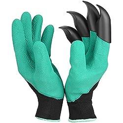 Garten Genie Handschuhe mit Fingerspitzen Klauen für Graben und Bepflanzen 1Paar Grün Schnelle Rose Beschneiden Handschuhe Graben Fausthandschuh Handschuhe wasserdicht