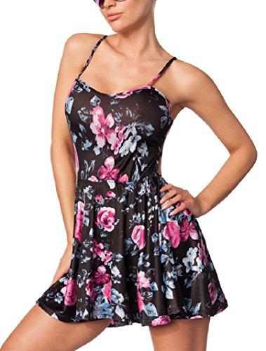 Sexy Robe en jersey robe en jersey Motif fleurs fleurs Print dentelle florale dentelle au crochet crochet taille S, M, L - Blumenmuster