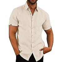 Fueri Mens Short Sleeve Shirts Cotton Shirts Button Down Summer Plain Regular Fit Casual Business Shirt Tops