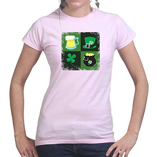 Womens Irish Symbols Patrick's Day Paddy's Shamrock Ladies T Shirt (Tee, Top) Pink