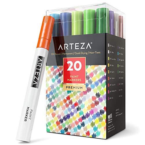 ARTEZA Permanente Marker | Set mit 20 Verschiedenen Farbstiften | Hochwertige Wasserfeste Stifte | Marker-Stifte zum Schreiben und Malen auf Allen Oberflächen