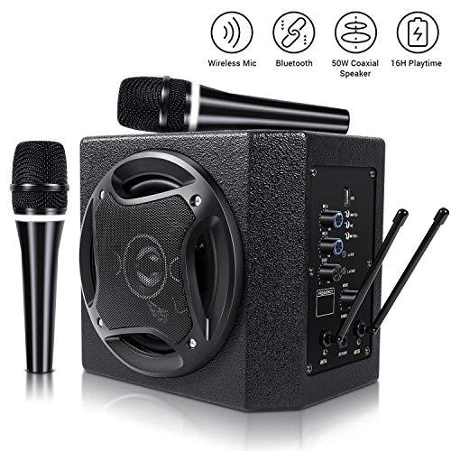 TONOR 50W Bluetooth Lautsprecher mit drahtlosem Handmikrofon PA-System für Indoor-Meeting, Unterricht, Konferenz, kleine Bühnen und Familien Party (Konferenz-lautsprecher Drahtloses)