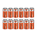 Tecxus CR 123 A T Lithium Batterie 3V für Foto, Taschenlampe, Rauchmelder 12 Stück silber/orange
