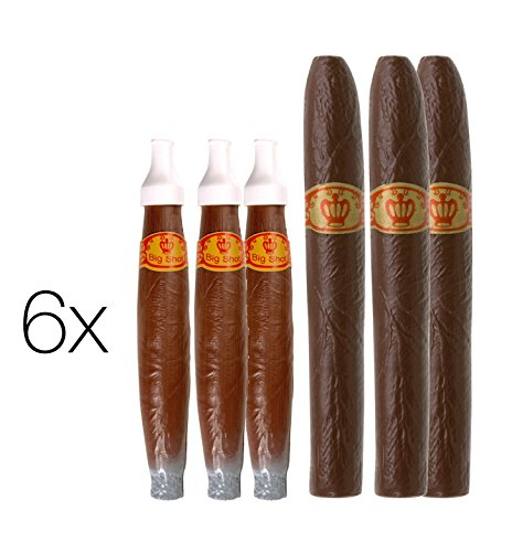 6x Zigarre Zigarrenset Fasching Karneval Fake Attrape aus Plastik für Mafia Kostüm, Gangster, 20er Jahre, Charleston Accessoires