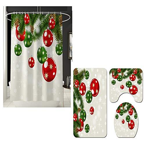 SZFYZCY Weihnachten Duschvorhang Mat 4 Sets von Badezimmer Mat Set Badezimmer Kreative Duschvorhang Curtain,B,180 * 180cm+45 * 75cm