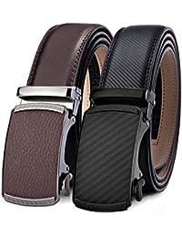 BULLIANT Cintura Uomo, Cintura A Cricchetto Per Uomo Slide Vera Pelle, Multipack (1 & 2Pack),Taglia Per Adattarsi