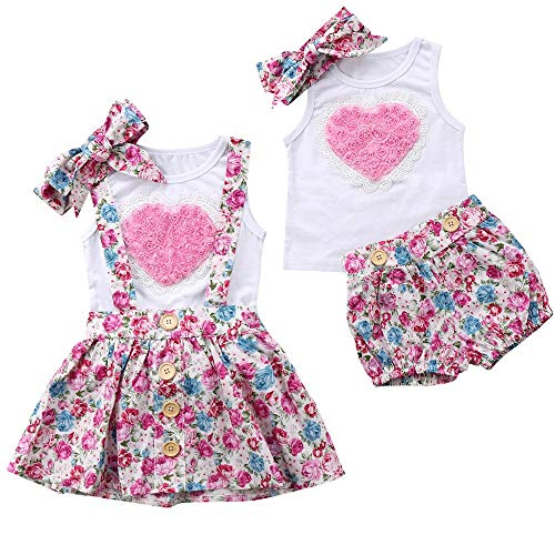 Puseky 3 stücke baby mädchen schwester passenden herz weste + stirnband + floral strapsrock sommer outfits (Color : White+Pink, Size : Big Sister-4Y-5Y) (Baby-white Outfit)