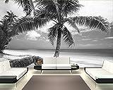 Selbstklebende Fototapete - Strand im Paradies - schwarz Weiss - 180x120 cm - Wandtapete – Poster – Dekoration – Wandbild – Wandposter - Bild – Wandbilder - Wanddeko