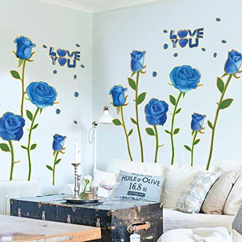 MU Moderne Einfachheit Wandaufkleber, Mode Kreative Schlafzimmer Sofa Hintergrund Wandtattoos Golden Rim Blue Rose Art Decal Golden Rim