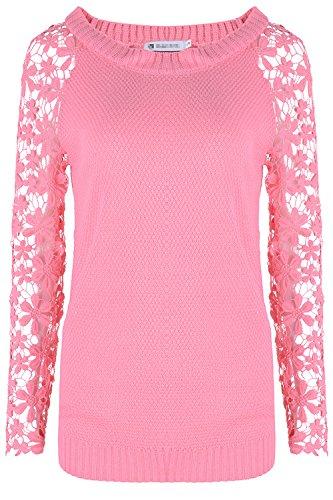 Les Femmes Les Dentelles Manche Solide Pull Tricoté Sweat L'hiver. pink