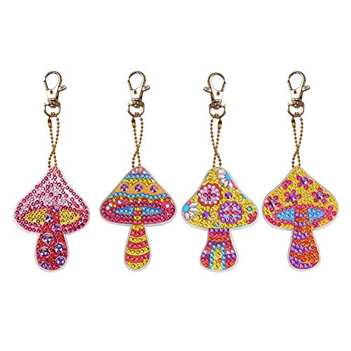 4pcs/set DIY Special-shaped Diamond Painting Mushroom Resin Women Girl Bag Keychain Key Rings Gifts Feature: DIY painting, unique, with resin paint, resin sequins, unique luster dazzling, shining in the light, is currently the most popular DIY decora...