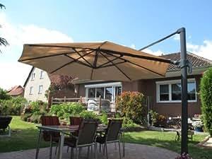 Parasol déporté en aluminium beige 3,5 m -300 g/m² protection uV 50