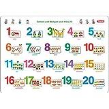 Fragenbär-Mini-Lernposter: Zahlen und Mengen von 1 bis 20, S 45 x 32 cm: stabiler Karton, folienbeschichtet, abwischbar (Lerne mehr mit Fragenbär)