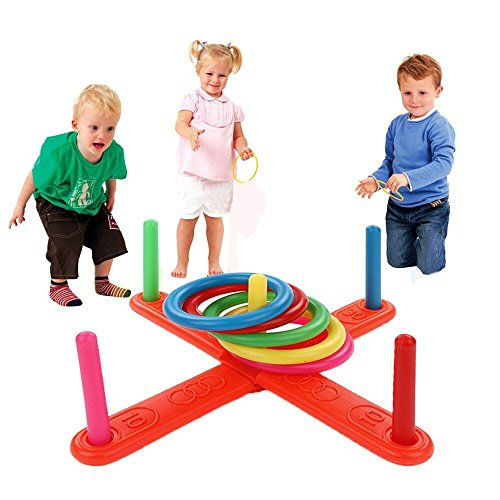 Puzzle Dekompression Spielzeug,ALIKEEY Hoop Ring Toss Kunststoff Ring Toss Quoits Garten Spiel Pool Spielzeug Outdoor Fun Set -