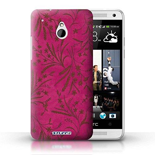Kobalt® Imprimé Etui / Coque pour HTC One/1 Mini / Orange/Vert conception / Série Motif floral blé Rose/Orange