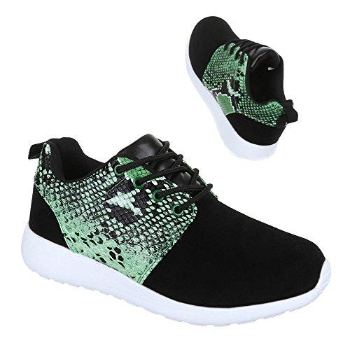 Damen Schuhe Trendige Sportschuhe Freizeitschuhe Schwarz Grün
