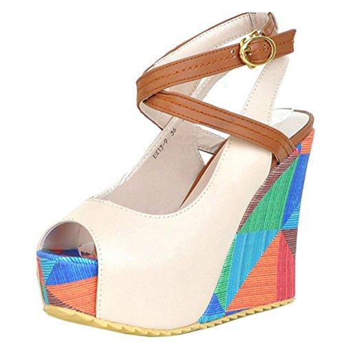 TAOFFEN Femmes Mode Peep Toe Sandales Compenses Talons Hauts Plateforme Sangle De Cheville Chaussures Beige
