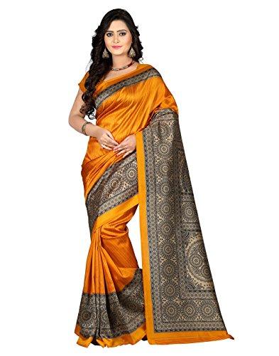 E-VASTRAM Womens Art Mysore Printed Silk Saree (NS5A_yellow)