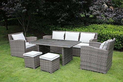 Loungeset, Loungemöbel, Gartenloungemöbel Set, Gartengarnitur, Loungebank, Loungetisch, Loungesofa, Aluminium, Rattanmöbel, hellgrau, grau, Polyrattan