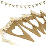 Rustic Lace Heart Jute Hessian Burlap Bunting Shabby Chic Wedding Banner by SIL