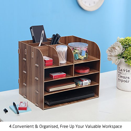 HomJoy Wooden Desktop Organiser, DIY Home Office Supplies Storage Cabinet with 2 A4 File Holder Sections and 8 Compartments (4 Tiers) (Brown)