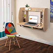 Comifort T07S - Mesa Escritorio de Pared Mesas Ordenador Colgantes 82x39x60 cm Color Roble