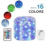daphome Lichterkette, 2 x 4 m, Kupferdraht, 50 LED-Lichterkette, batteriebetrieben, wasserdicht, 16 Farbwechsel, dimmbar, mit Fernbedienung (Timer) 1