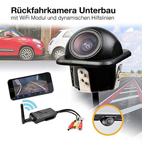 Auto WiFi W-LAN Funk Rückfahrsystem Einbau Rückfahrkamera Kabellos 170° Weitwinkel mit Smartphone App für Iphone IPad Android 12V 24V mit dynamischen Hilfslinien