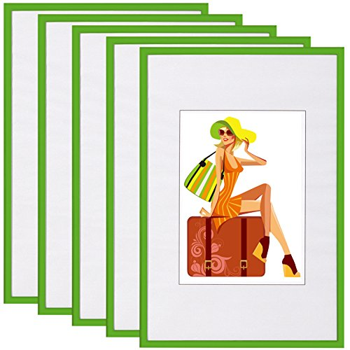 EUGAD #315 Bilderrahmen New Life Style , Bildergalerie Foto Rahmen Galerie Collage , Kunststoff und Echtglas , mit Passepartout , Grün , 13x18 cm, 5er Set (13 Grün)