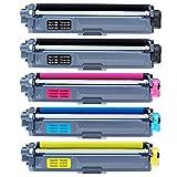 5 x kompatibel Brother Toner TN-241 TN-245, für Farblaserdrucker MFC 9332CDW,MFC 9142CDN,MFC 9342CDW,DCP 9022CDW,DCP 9017CDW (TN241BK schwarz x 2/TN245C cyan x 1/TN245M magenta x 1/TN245Y gelb x 1)