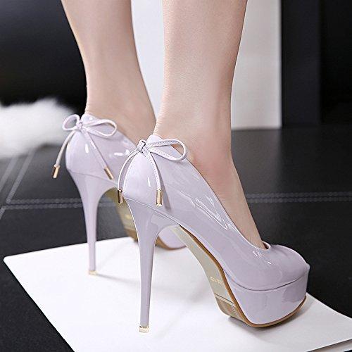 GS~LY Geschenk Fein high-heeled Fisch Mund einzelne Schuhe wasserdicht Tabelle super hoch mit Schuhen und Veranstaltungsräume Damenschuhe Black
