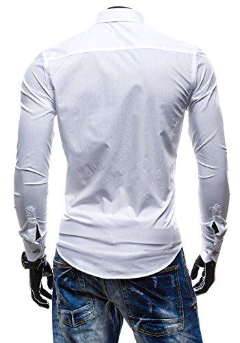 BOLF Langarm Herrenhemd Hemd Figurbetont Freizeit Slim Fit 5722 Weiß-Schwarz