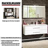 Fackelmann Badmöbel Set B.Clever 2-tlg. 120 cm weiß mit Waschtisch Unterschrank inkl. Gussmarmorbecken & LED Spiegelschrank