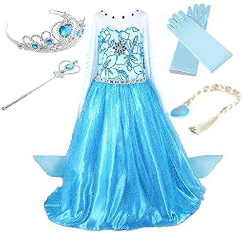 VLUNT Prinzessin Mädchen Kinder Kleid Kostüm Cosplay Party Dress Eiskönigin Halloween,Handschuhen, Zauberstab und Zopf (Halloween Zauberstäbe)