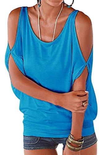 YOINS Damen Kurzarm Bluse Schulterfrei Batwing Weit Rundhals Carmen Oberteil Tops T-Shirt Sommerbluse Blau S/EU36-38