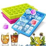 NEWROAD 3 Stück Eiswürfelform Silikon Eiswürfel Form Eiswürfelbehälter Eiswürfelbereiter mit Deckel Ice Tray Ice Cube 24 Fächer, Kühl Aufbewahren BPA frei